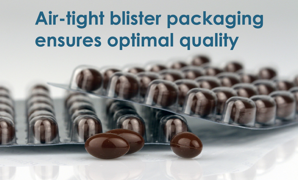 Air tight blister packing ensures optimal quality