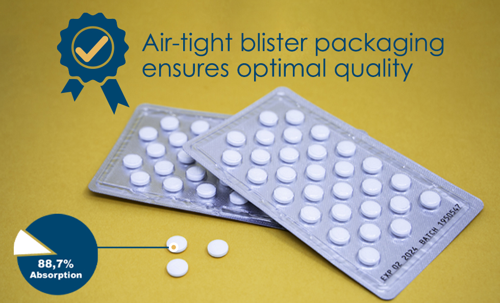 Air tight blister packaging ensures optimal quality